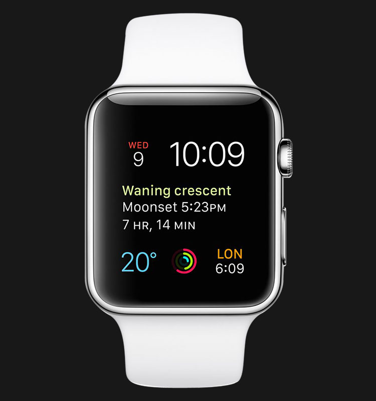 Apple Watch 42mm Stainless Steel Case with White Sport Band - MJ3V2ZP/A Machtwatch