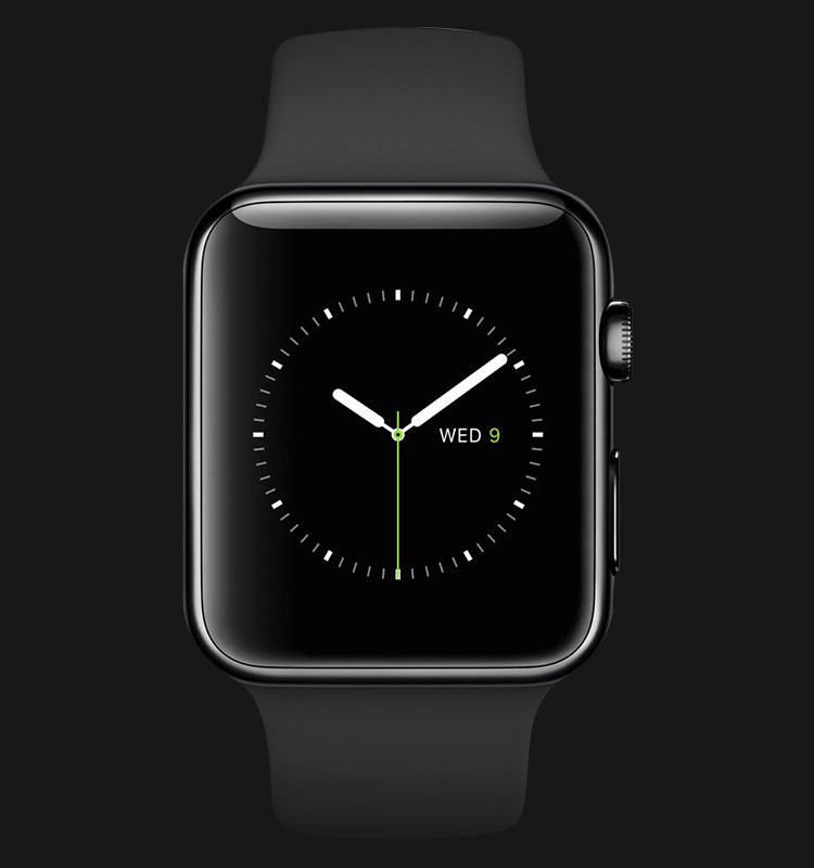 Apple Watch 42mm Space Black Stainless Steel Case with Black Band - MLC82ZP/A Machtwatch