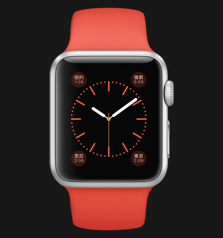 Apple Watch 38mm Silver Aluminum Case with Orange Sport Band - MLCF2ZP/A Machtwatch