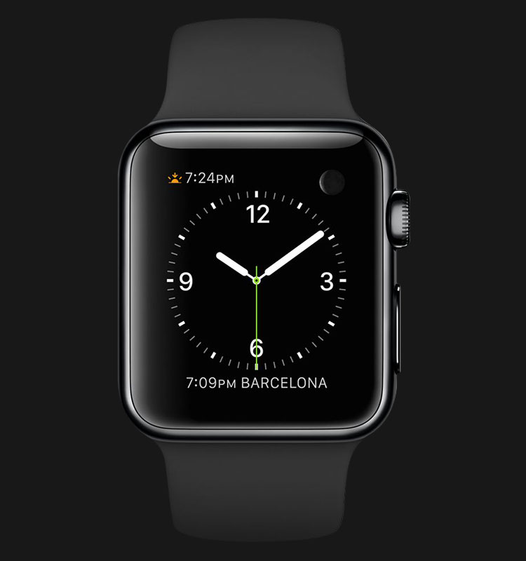 Apple Watch 38mm Space Black Stainless Steel Case with Black Band - MLCK2ZP/A Machtwatch