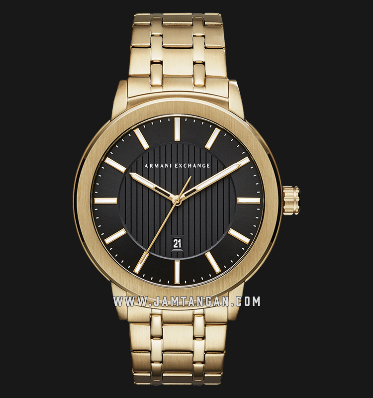Armani Exchange Maddox AX1456 Black Pattern Dial Gold Stainless Steel Strap Machtwatch
