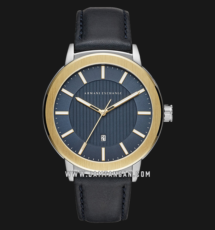 Armani Exchange Maddox AX1463 Blue Pattern Dial Black Leather Strap Machtwatch