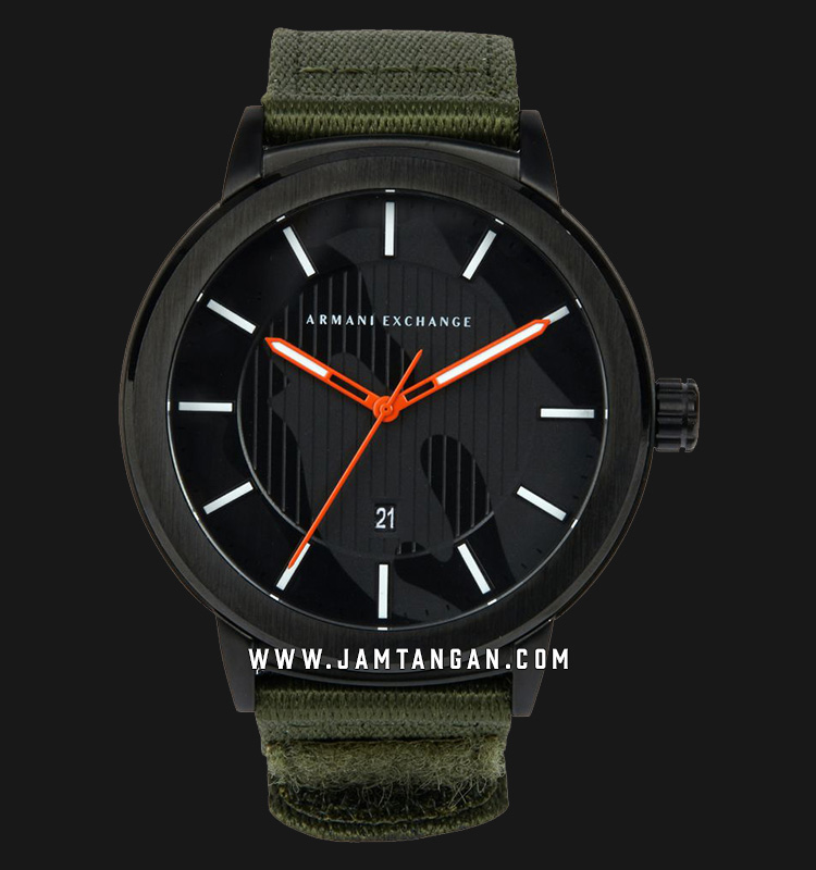 Armani Exchange Maddox AX1468 Black Dial Green Nylon Strap Machtwatch