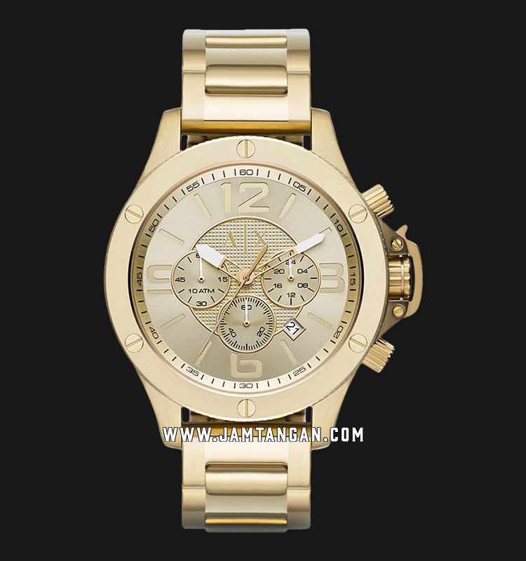 Armani Exchange AX1504 Chronograph Men Champagne Pattern Dial Gold Stainless Steel Strap Machtwatch