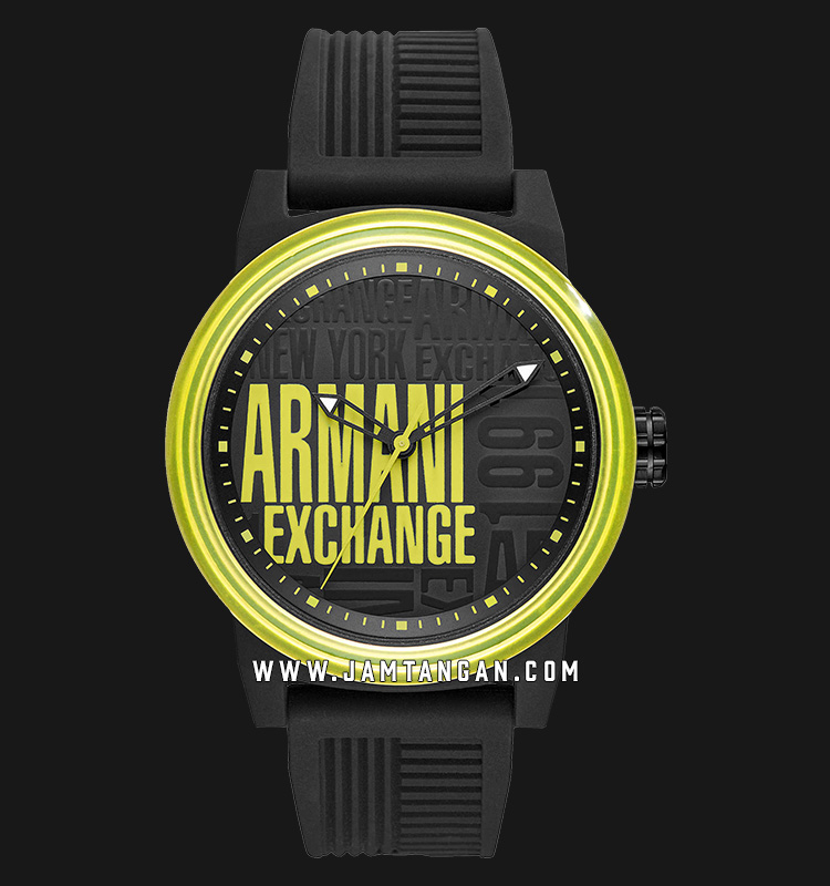 Armani Exchange ATLC AX1583 Multicolor Dial Black Rubber Strap Machtwatch