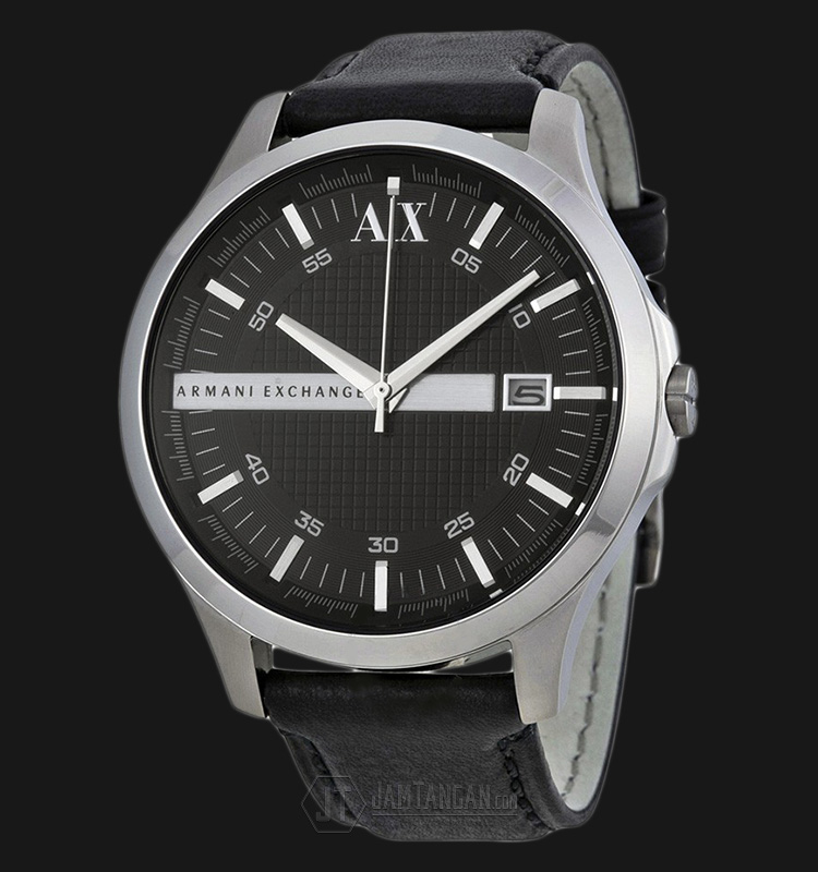 Armani Exchange AX2101 Whitman Black Dial Black Leather Strap Machtwatch