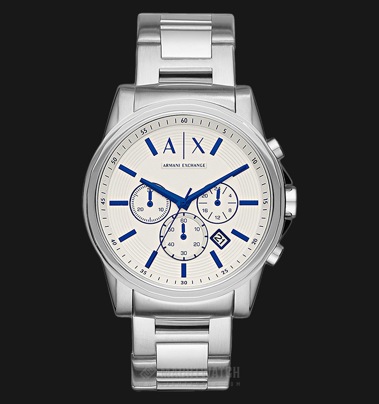 Armani Exchange AX2510 Men Chronograph White Dial Stainless Steel Machtwatch