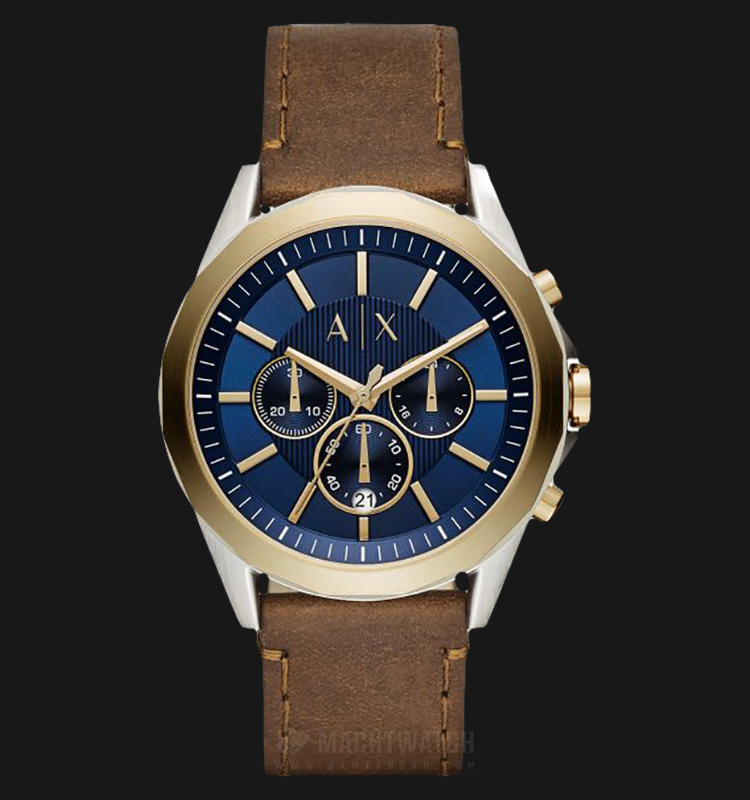 Armani Exchange AX2612 Chronograph Men Blue Pattern Dial Brown Leather Strap Machtwatch