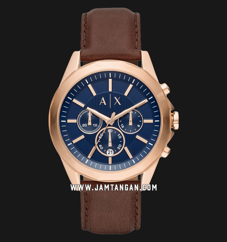 Armani Exchange AX2626 Chronograph Men Blue Dial Brown Leather Strap Machtwatch