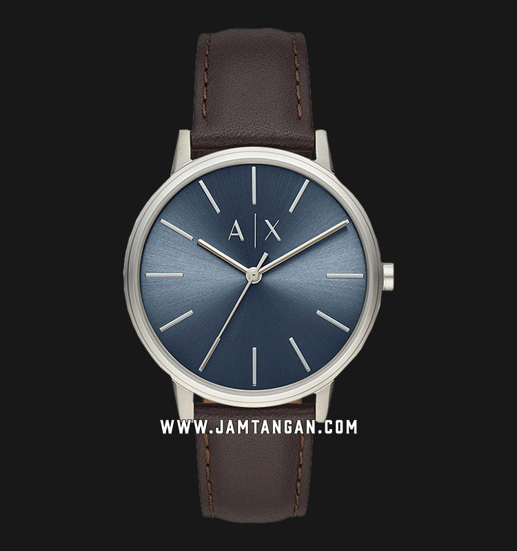 Armani Exchange AX2704 Cayde Blue Dial Brown Leather Strap Machtwatch
