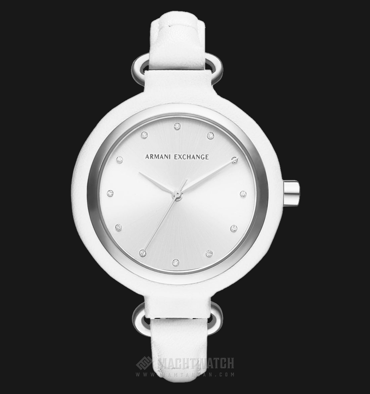 Armani Exchange AX4237 Ladies Silver Dial White Leather Watch Machtwatch