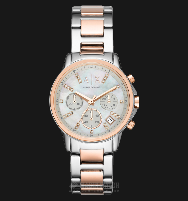 Armani Exchange AX4331 Ladies Chronograph Mother of Pearl Dial Two-tone Bracelet Machtwatch