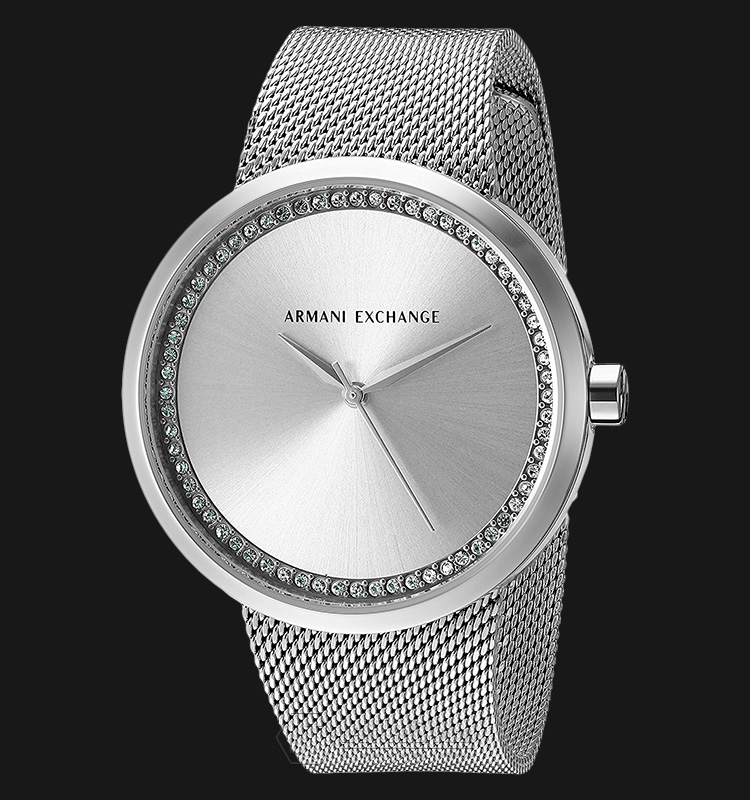 Armani Exchange AX4501 Ladies Silver Dial Silver Stainless Steel Mesh Machtwatch