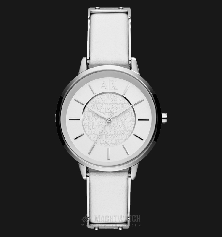 Armani Exchange AX5300 Ladies White Dial Stainless Steel Case White Leather Strap Machtwatch