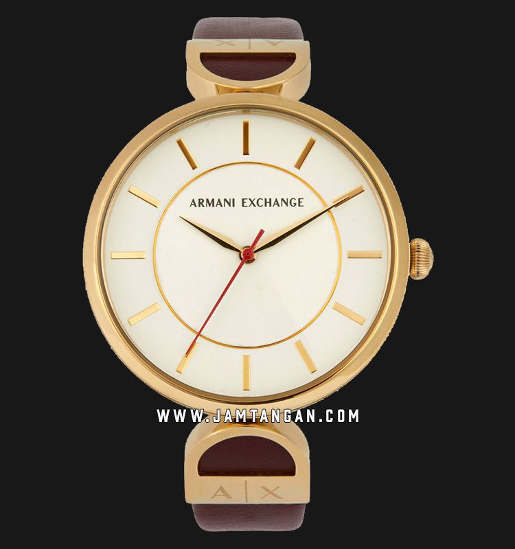 Armani Exchange Brooke AX5326 Ladies Silver Dial Maroon Leather Strap Machtwatch