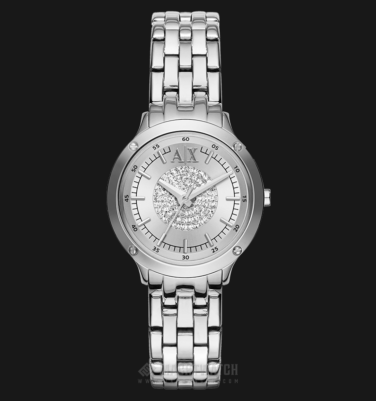 Armani Exchange AX5415 Ladies Silver Crystal-set Dial Stainless Steel Watch Machtwatch
