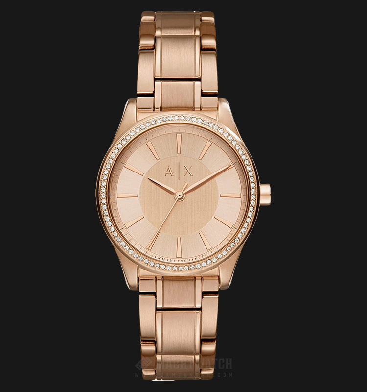 Armani Exchange AX5442 Ladies Rose Gold Dial Rose Gold Stainless Steel Strap Machtwatch