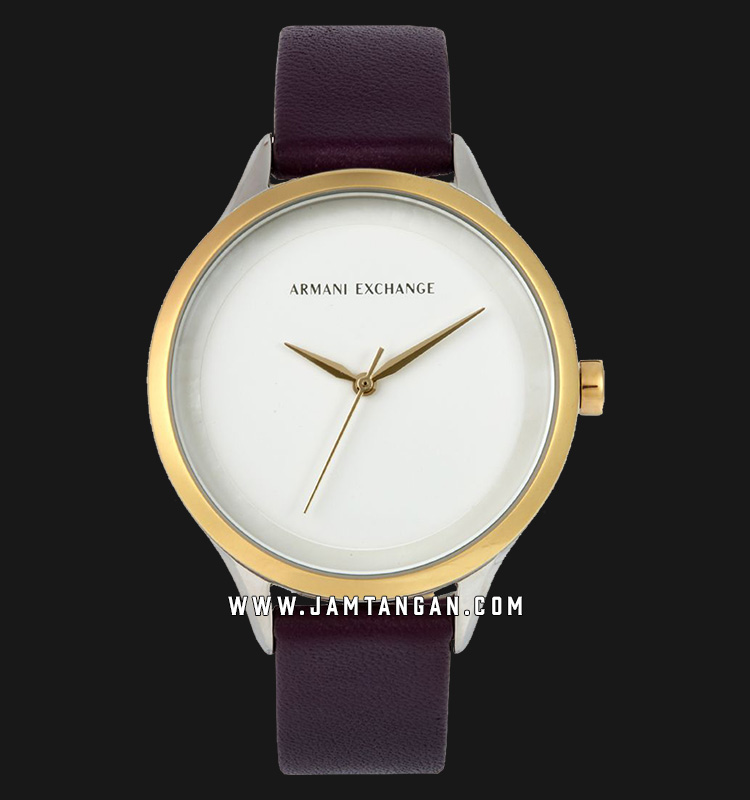 Armani Exchange Harper AX5605 Ladies Silver Dial Purple Leather Strap Machtwatch