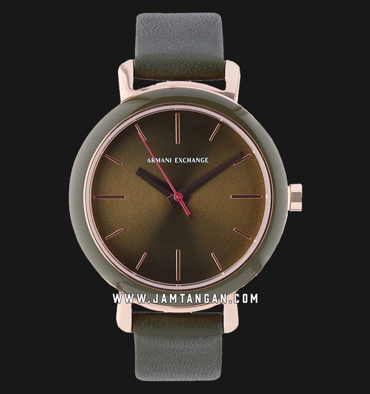 Armani Exchange AX5701 Ladies Green Dial Green Leather Strap Machtwatch