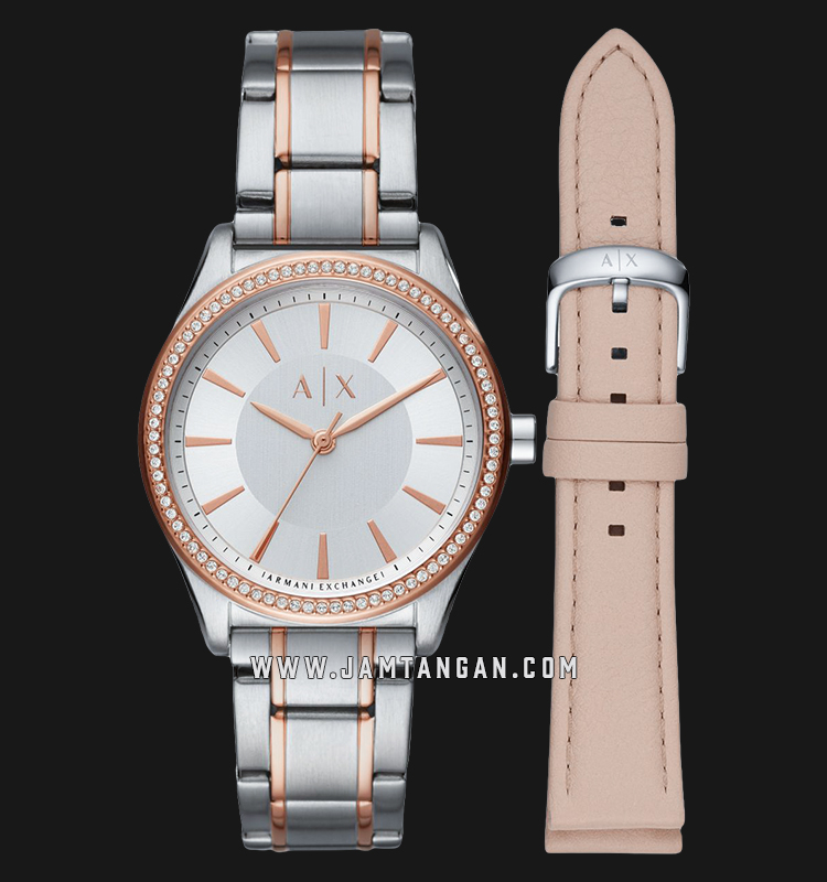Armani Exchange AX7103 Ladies Silver Dial Dual Tone Stainless Steel Strap + Extra Strap Machtwatch