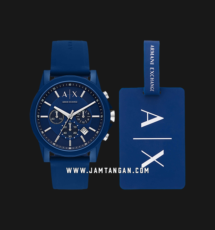 Armani Exchange AX7107 Blue Dial Blue Resin Strap + Free Tag Gift Set Machtwatch