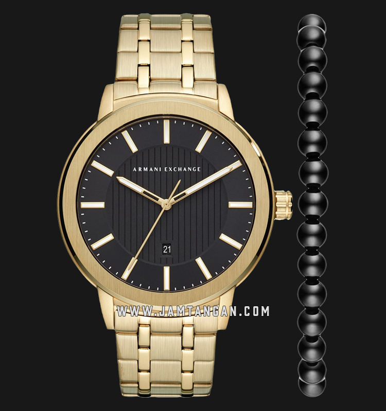 Armani Exchange Maddox AX7108 Black Dial Gold Stainless Steel Strap + Free Bracelet Gift Set Machtwatch