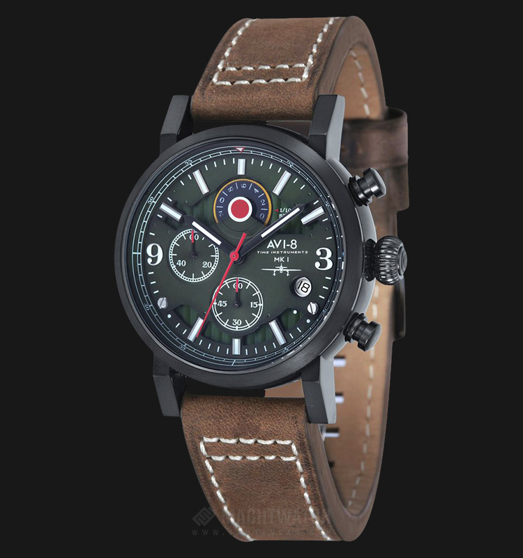AVI-8 Man Hawker Hurricane Watch Green Dial Brown Leather Strap AV-4041-04 Machtwatch