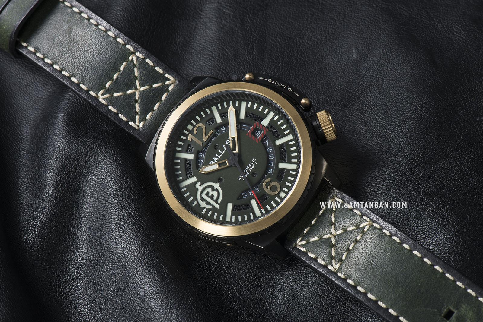 Ballast BL-3133-0A Trafalgar Automatic Green Dial Green Leather Strap Machtwatch