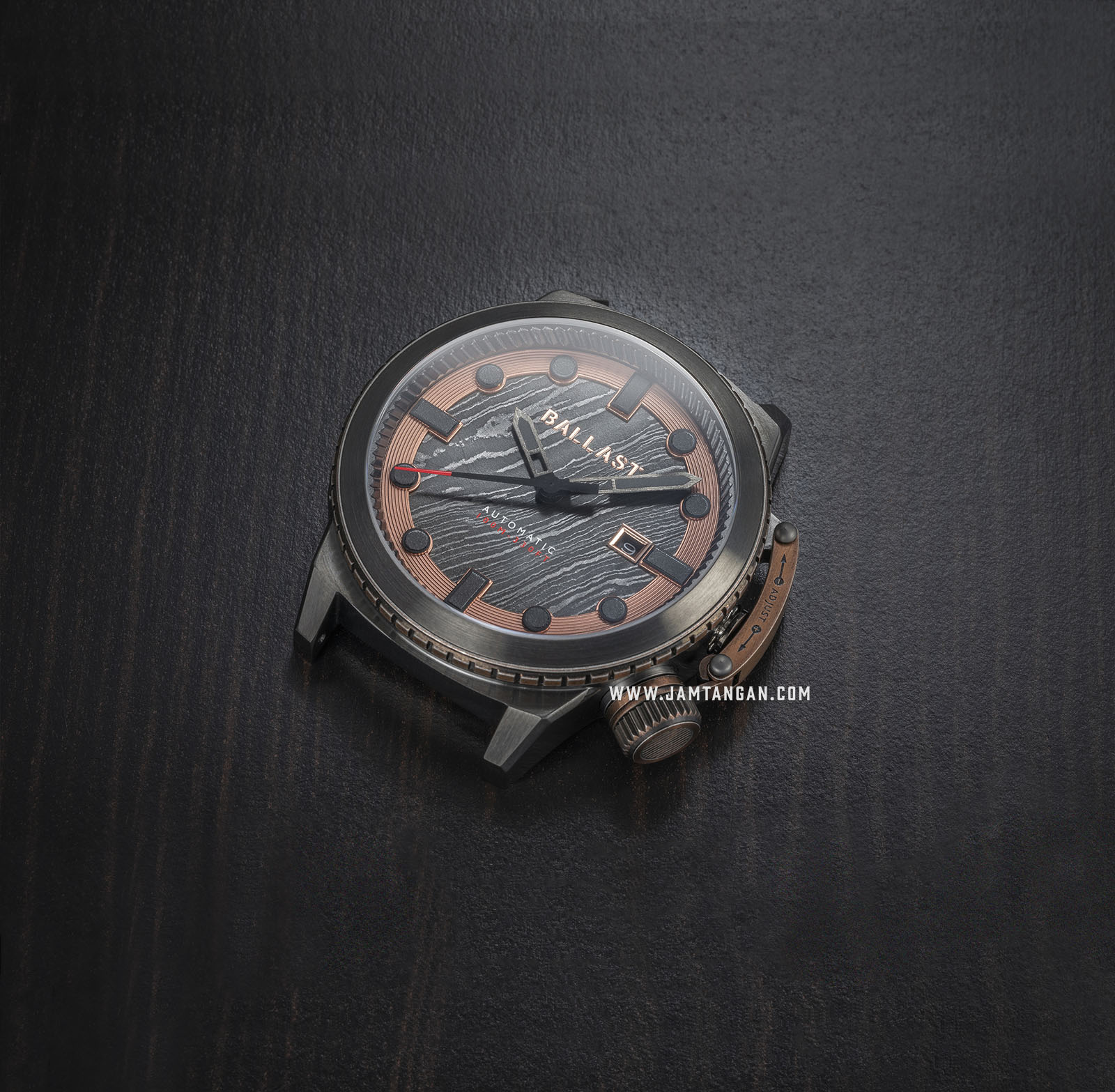 Ballast BL-3138-02 Trafalgar Triumph Men Damascus Rose Gold Dial Brown Leather Strap Machtwatch