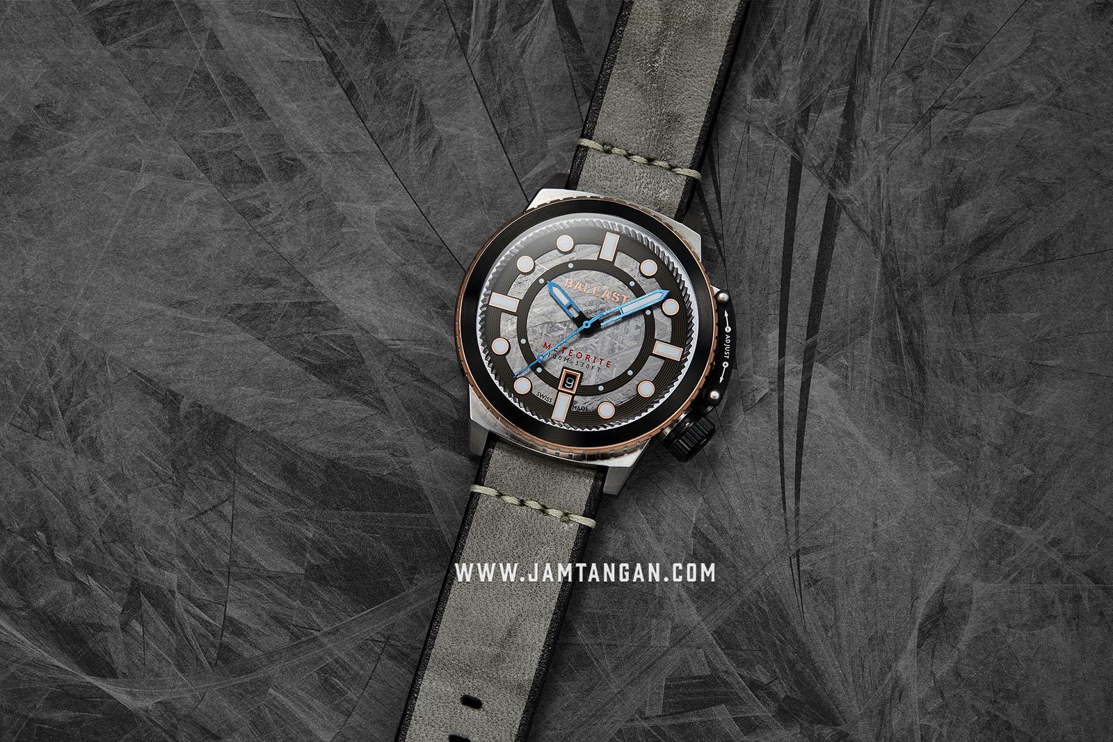 Ballast BL-3139-01 Trafalgar Conqueror Men Raw Meteorite Dial Grey Leather Strap Machtwatch
