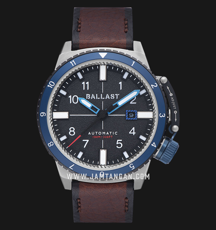 Ballast BL-3142-03 Trafalgar Dual Time Automatic Men Black Dial Brown Leather Strap Machtwatch