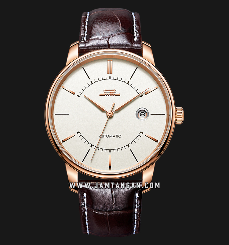 Beijing BG030002 Architectural Man Silver Dial Brown Leather Strap Machtwatch