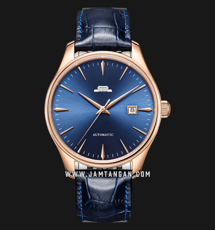 Beijing BG100003 Classic Man Blue Sunray Dial Blue Leather Strap Machtwatch