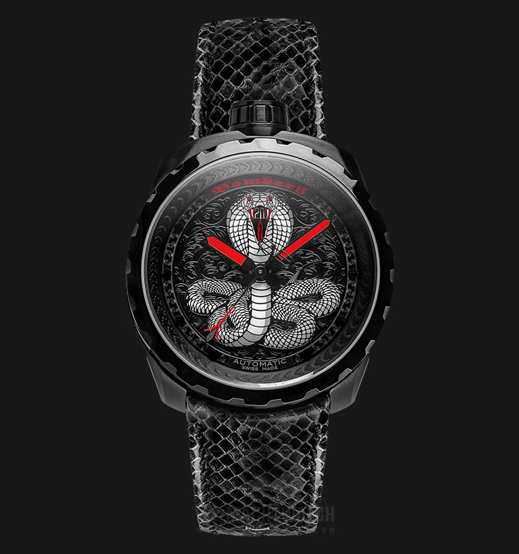 Bomberg Bolt-68 Cobra Black PVD BS45APBA.043-1.3 Automatic Dual Color Dial Black Leather Strap Machtwatch