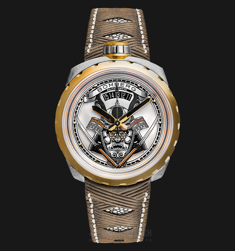 Bomberg Bolt-68 Samurai Vintage BS45ASPG.042-2.3 Automatic Multicolor Dial Brown Leather Strap Machtwatch