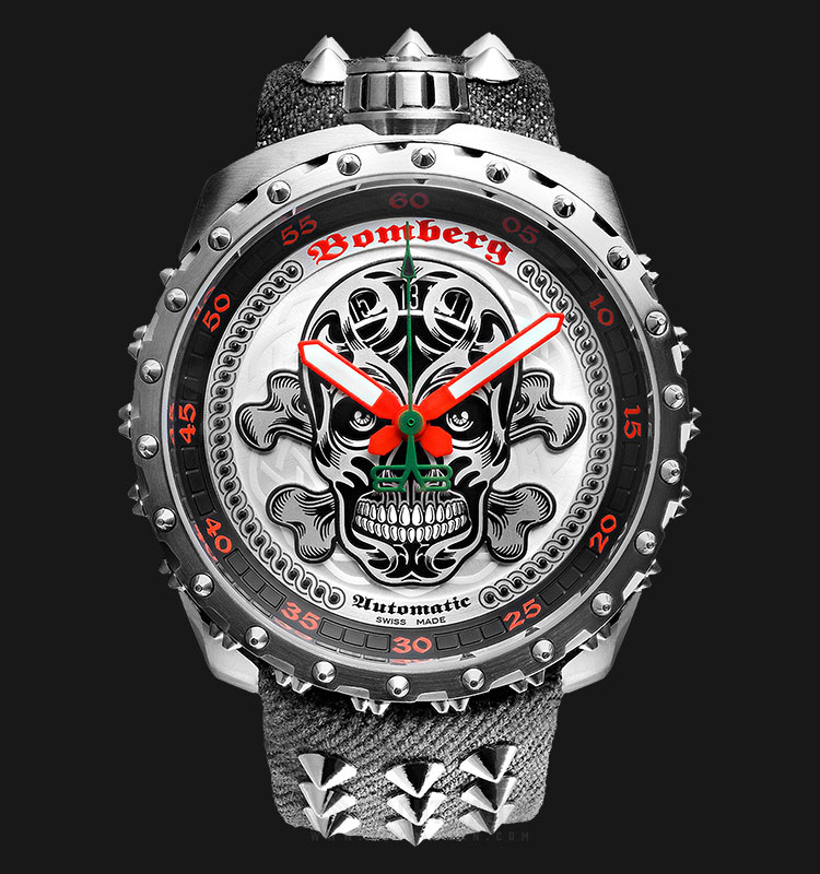 Bomberg Bolt-68 Grey Nails Badass BS45ASS.039-4.3 Automatic Multicolor Dial Grey Nylon Strap Machtwatch