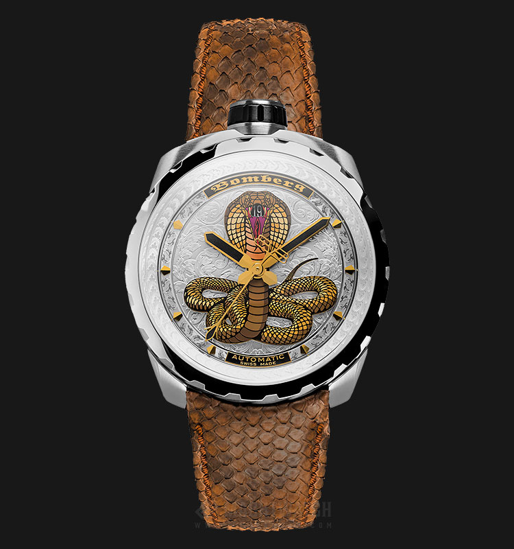 Bomberg Bolt-68 Cobra Steel BS45ASS.043-2.3 Automatic Multicolor Dial Brown Leather Strap Machtwatch