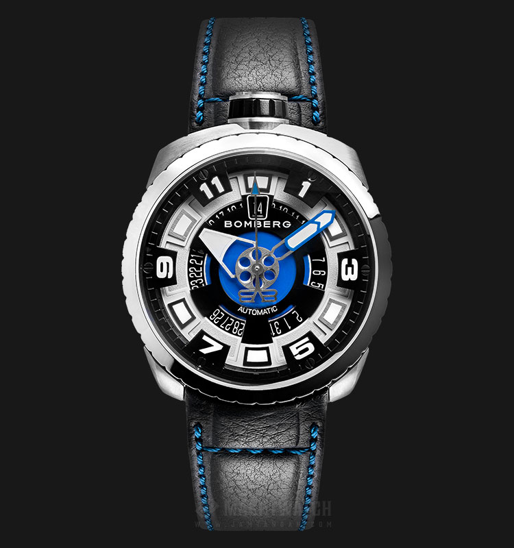 Bomberg Bolt-68 Steel&Blue Sapphire BS45ASS.045-1.3 Automatic Black Dial Black Leather Strap Machtwatch