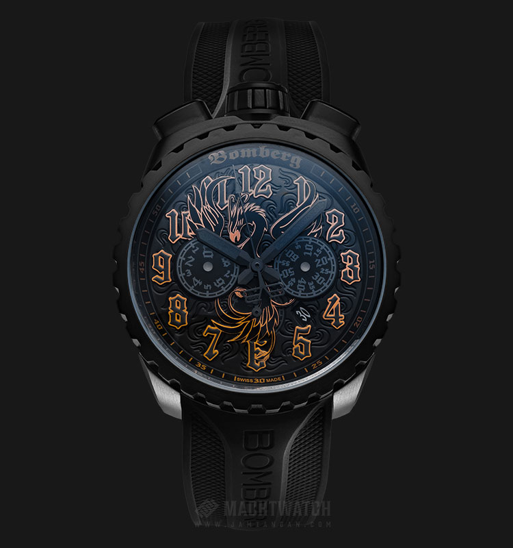 Bomberg Bolt-68 Fenix NJ1 BS45CHPBA.NJ1.3 Chronograph Black Dial Black Rubber Strap Machtwatch