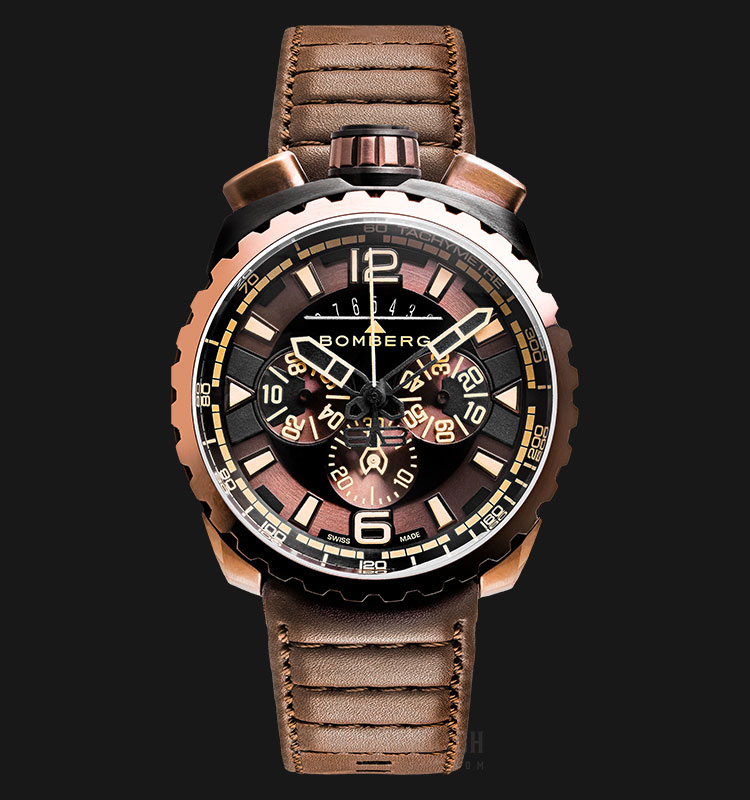 Bomberg Bolt-68 Dark Brown Sapphire BS45CHPBRBA.050-2.3 Chronograph Black Dial Brown Leather Strap Machtwatch