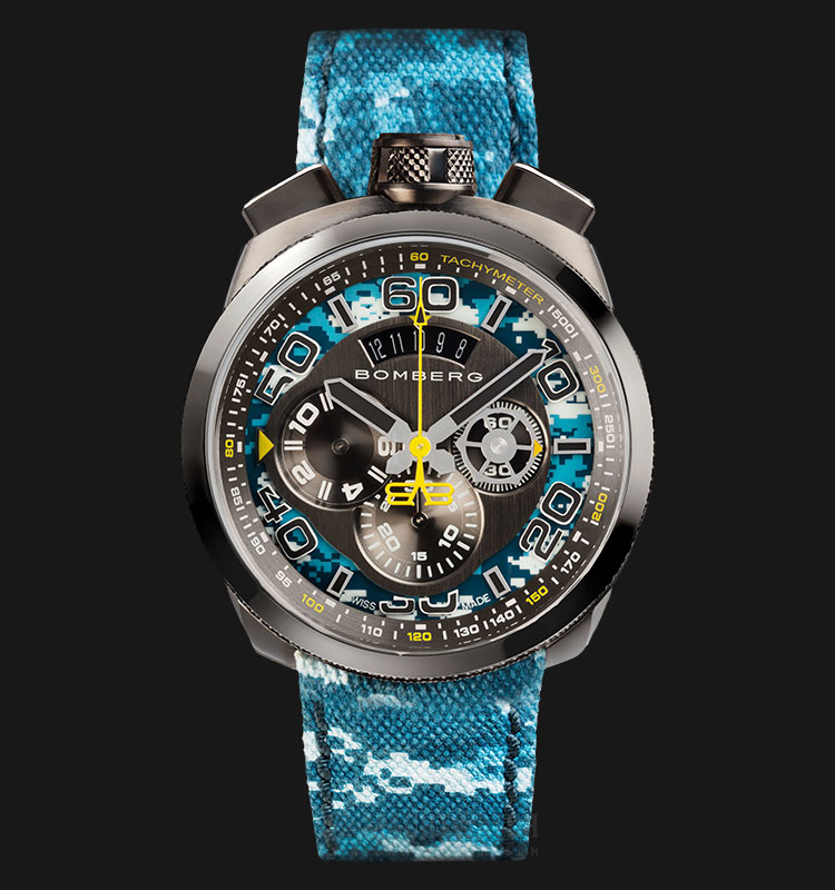Bomberg Bolt-68 Pacific Camo BS45CHPGM.035.3 Chronograph Black Dial Camouflage Nylon Strap Machtwatch