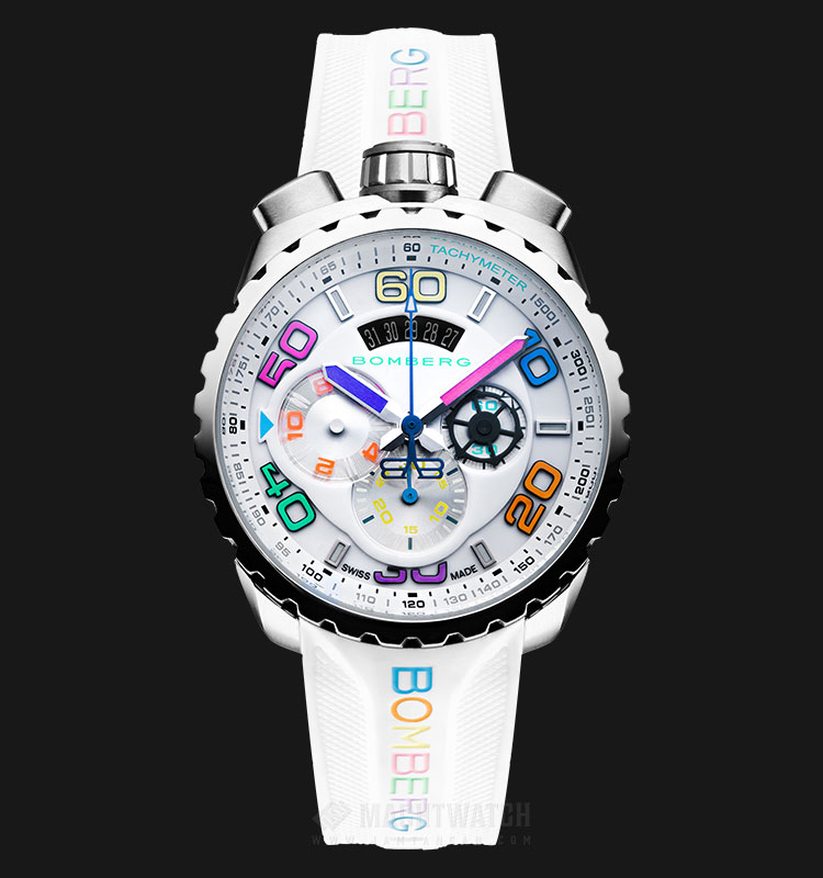 Bomberg Bolt-68 Chroma II Ice Steel BS45CHSS.049-5.3 Chronograph White Dial White Rubber Strap Machtwatch