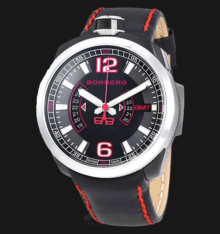 Bomberg Bolt-68 3 Hands GMT Steel-PVD BS45GMTSP.004.3 Black Dial Black Leather Strap Machtwatch