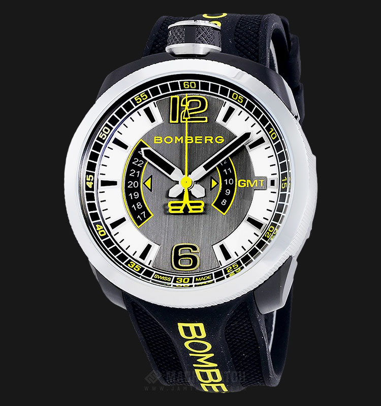 Bomberg Bolt-68 3 Hands GMT Yellow BS45GMTSP.027.3 Grey Dial Black Rubber Strap Machtwatch