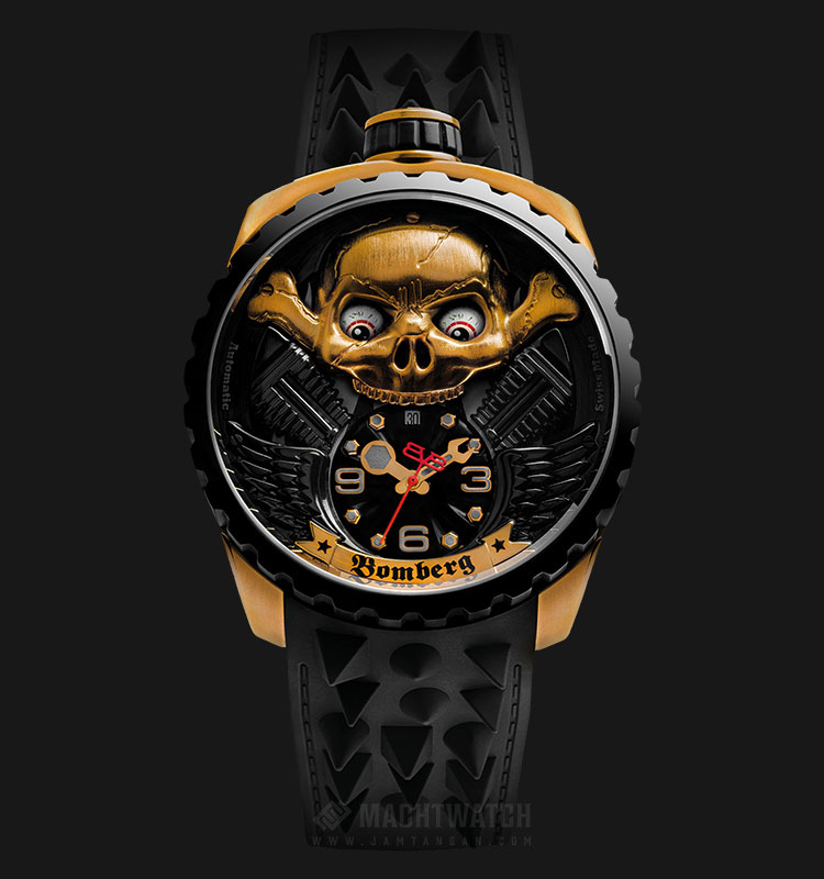 Bomberg Bolt-68 Skull Rider Gold BS47APBA.056-2.3 Automatic Black Dial Black Leather Strap Machtwatch