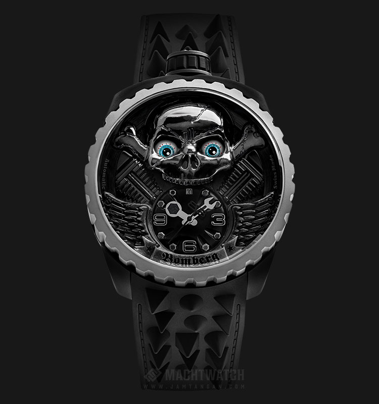 Bomberg Bolt-68 Skull Rider Grey BS47APBA.056-3.3 Automatic Grey Dial Black Leather Strap Machtwatch