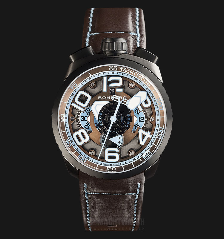 Bomberg Bolt-68 Chocolate Blue Auto Chrono BS47CHAPBA.041-2.3 Dual Color Dial Brown Leather Strap Machtwatch