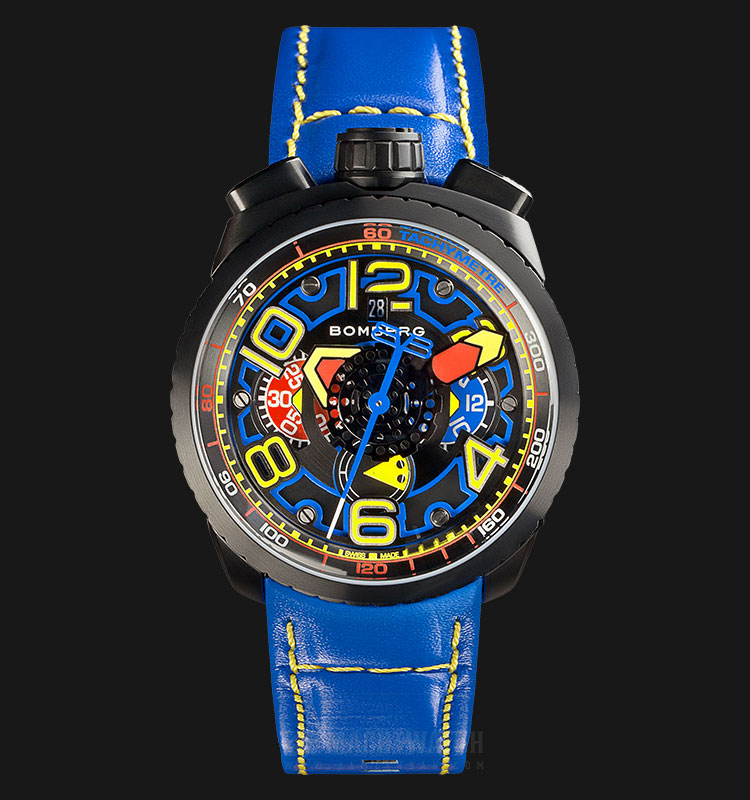 Bomberg Bolt-68 Electric Blue Auto Chrono BS47CHAPBA.041-3.3 Multicolor Dial Blue Leather Strap Machtwatch