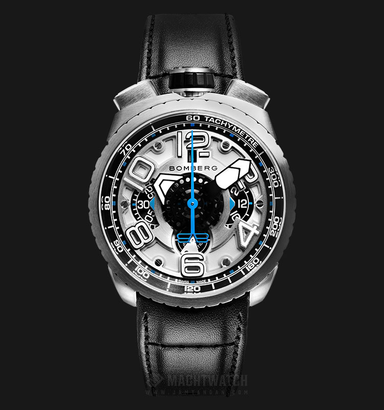 Bomberg Bolt-68 Silver Automatic Chronograph BS47CHASS.041-5.3 Silver Dial Black Leather Strap Machtwatch