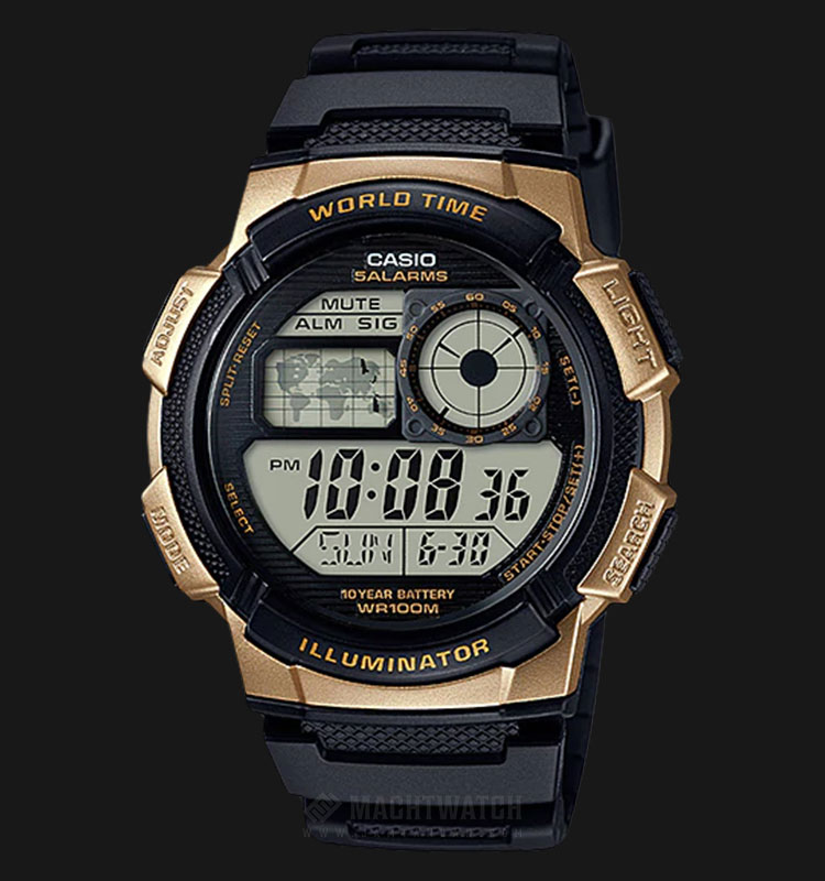 Casio AE-1000W-1A3VDF - 10 Year Battery - Water Resistance 100M Black Resin Band Machtwatch